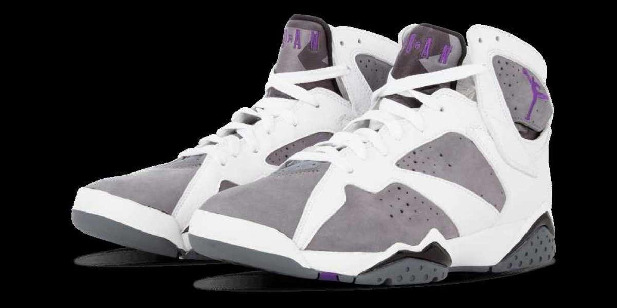 """CU9307-100 Air Jordan 7 """"Flint"""" White/Flint Grey-Black-Varsity Purple will be released in May next year"""